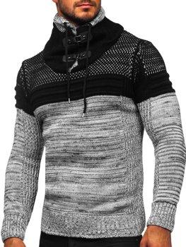 Gruby szary sweter męski ze stójką Denley 2058