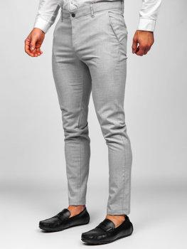 Jasnoszare spodnie materiałowe chinosy męskie Denley 0016