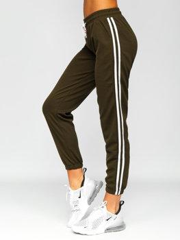 Khaki spodnie dresowe damskie Denley YW01020D