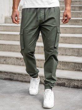 Khaki spodnie joggery bojówki męskie Denley 701