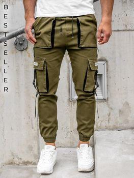 Khaki spodnie joggery bojówki męskie Denley KA1911