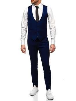 Kobaltowy komplet męski kamizelka i spodnie Denley 0019