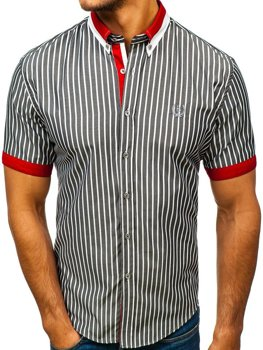 Koszula męska elegancka w paski z krótkim rękawem szara Bolf 4501