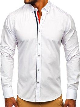 Koszula męska elegancka z długim rękawem biała Denley 4780  LDYw1