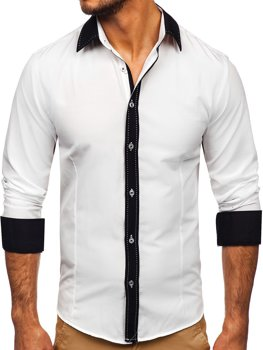 Koszula męska elegancka z długim rękawem biała Bolf 6882