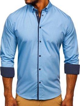 Koszula męska elegancka z długim rękawem błękitna Bolf 7724