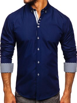 Koszula męska elegancka z długim rękawem ciemnogranatowa Bolf 5796