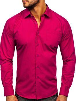 Koszula męska elegancka z długim rękawem fuksja Denley 0003