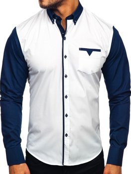 Koszula męska elegancka z długim rękawem granatowa Bolf 5726-1