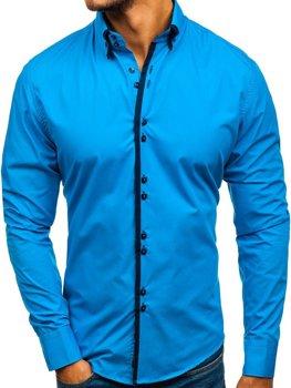Koszula męska elegancka z długim rękawem niebieski Bolf 1721-A