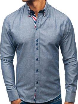 Koszula męska elegancka z długim rękawem szara Bolf 2759