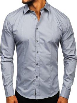 Koszula męska elegancka z długim rękawem szara Bolf 4705G