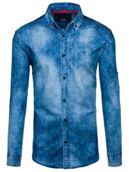 Koszula męska jeansowa z długim rękawem niebieska Denley 0533-1