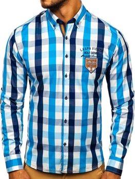 Koszula męska w kratę z długim rękawem błękitna Bolf 1766-1