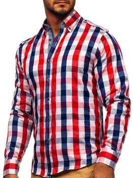 Koszula męska w kratę z długim rękawem czerwona Bolf 2779