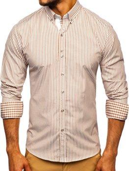 Koszula męska w paski z długim rękawem brązowa Bolf 9711