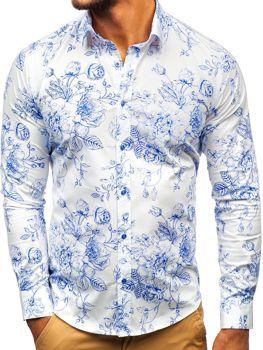 Koszula męska we wzory z długim rękawem biało-niebieska Denley 200G66