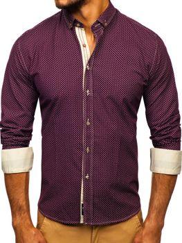 Koszula męska we wzory z długim rękawem bordowa Bolf 9707