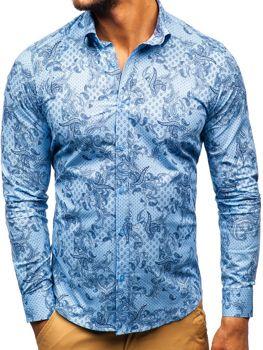 e44235c370 Koszula męska we wzory z długim rękawem niebieska Denley 200G63