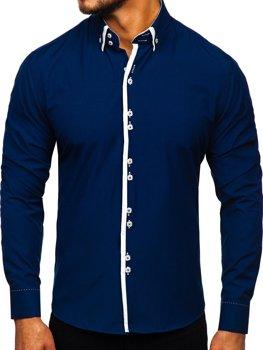 Koszula męska z długim rękawem ciemnogranatowa Bolf 1721-1
