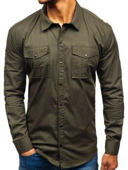 Koszula męska z długim rękawem khaki Denley 2058-1