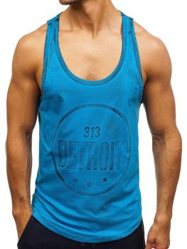 Koszulka tank top męska z nadrukiem niebieska Denley 2446