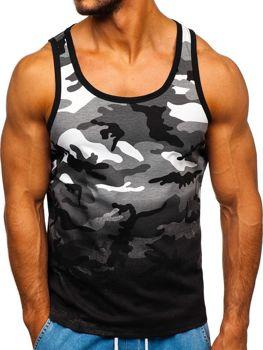 Koszulka tank top z nadrukiem moro-szara Denley 100813