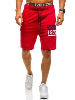 Krótkie spodenki dresowe męskie czerwone Denley AA02
