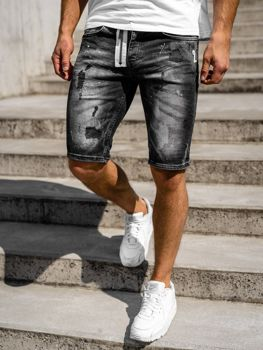 Krótkie spodenki jeansowe męskie czarne Denley R3003