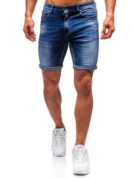 Krótkie spodenki jeansowe męskie granatowe Denley T573