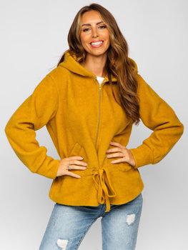 Kurtka damska krótki płaszcz z kapturem żółta Denley 9320