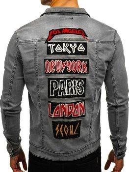 Kurtka jeansowa męska szara Denley 2050