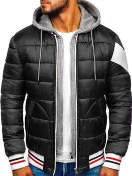 Kurtka męska zimowa sportowa pikowana czarna Denley JK395