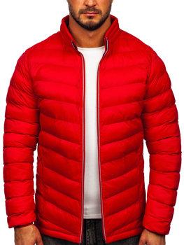 Kurtka męska zimowa sportowa pikowana czerwona Denley 1100