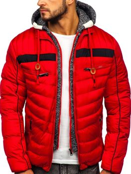 Kurtka męska zimowa sportowa pikowana czerwona Denley 50A71