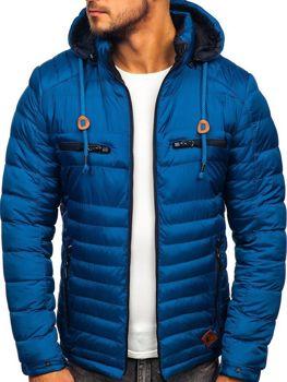 Kurtka męska zimowa sportowa pikowana niebieska Denley 50A94