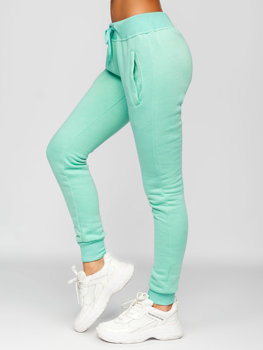 Miętowe spodnie dresowe damskie Denley CK-01