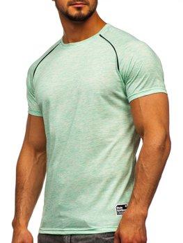 Miętowy T-shirt męski z nadrukiem Denley SS11125