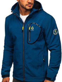 Niebieska kurtka męska przejściowa softshell Denley AB143