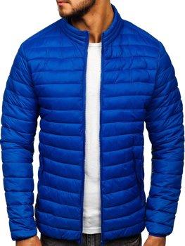 Niebieska pikowana przejściowa kurtka męska Denley LY33