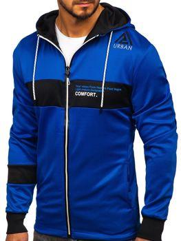 Niebieska rozpinana bluza męska z kapturem i nadrukiem Denley DD20125
