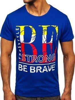 Niebieski T-shirt męski z nadrukiem Denley KS2387
