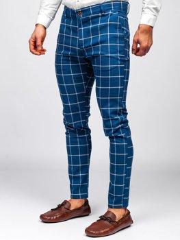 Niebieskie spodnie materiałowe chinosy w kratę męskie Denley 0002