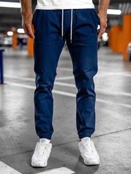 Niebieskie spodnie męskie joggery Denley 1145