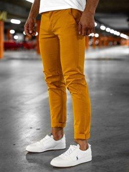 Pomarańczowe spodnie chinosy męskie Denley 1146