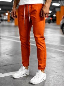 Pomarańczowe spodnie męskie joggery Denley 1145