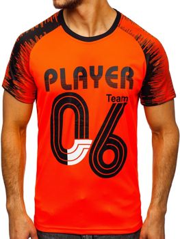 Pomarańczowy T-shirt męski z nadrukiem Denley KS2065