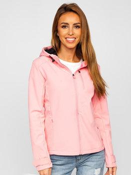 Różowa kurtka damska przejściowa softshell Denley KSW6003