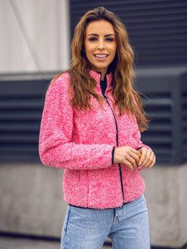 Różowa polarowa bluza damska bez kaptura Denley HH009