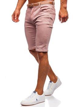 Różowe jeansowe krótkie spodenki męskie z paskiem Denley KG3585-145